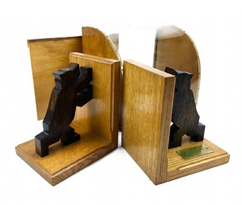 Vintage German Wooden Book Ends In Original Box / Display Case / Bear / Rare